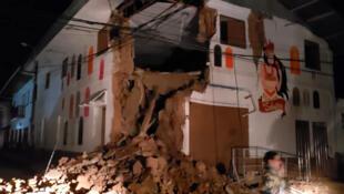 Une maison endommagée par un séisme de magnitude 8 à Yurimaguas (Pérou) le 26 mai.