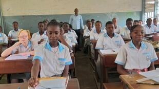 Students of Nelson Mandela Lycée in Gabon's capital, Libreville, on 3 February 2020.