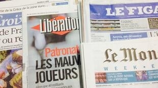 Primeiras páginas dos diários franceses de 20/02/2014