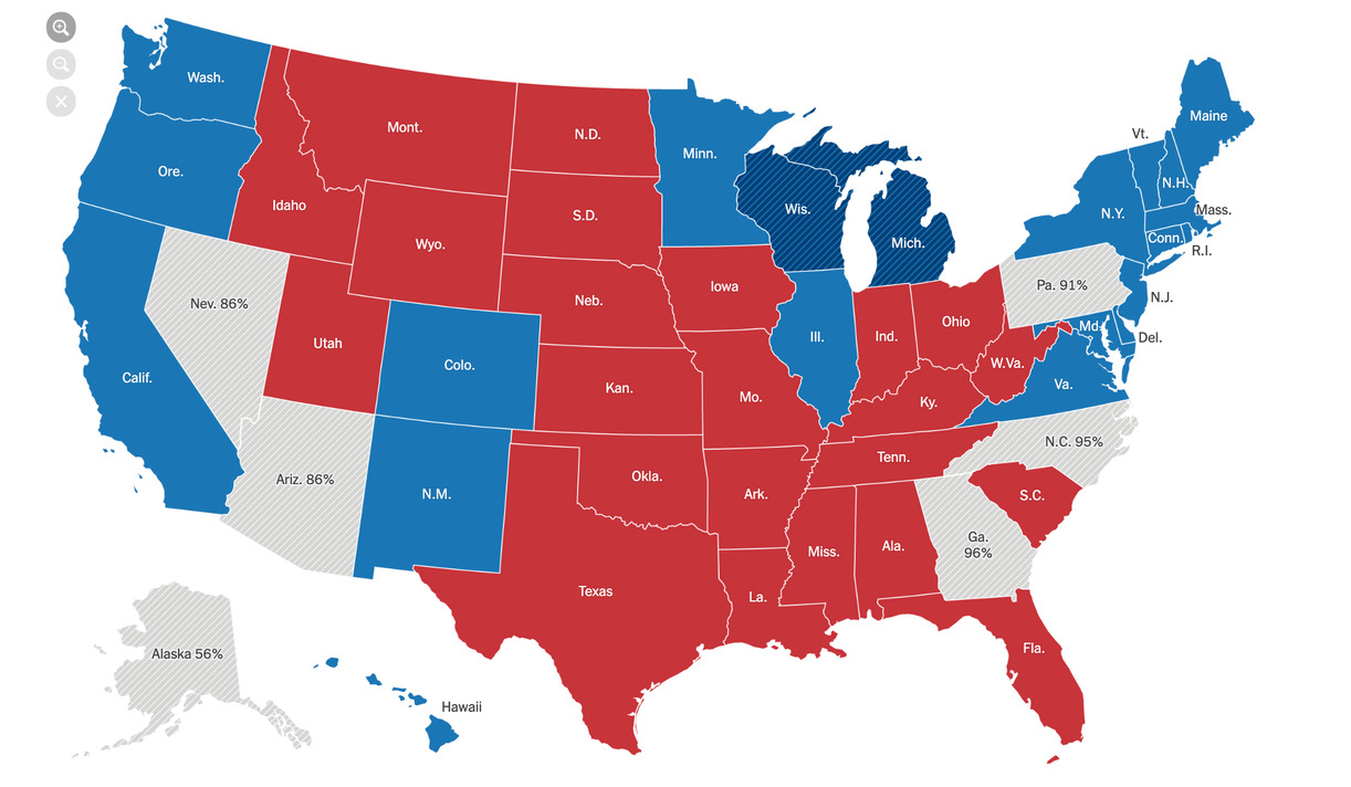 Map with results of the US elections on election night, November 3. Results in six states are still not clear. On November 5,  Joe Biden is leading the count in Nevada, Arizona, Georgia and Pennsylvania, Trump leads in Alaska and North Carolina. In the end, Biden secures all swing states, winning 306 electors.