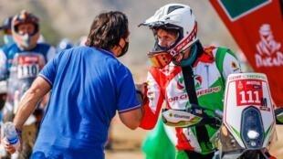 Le Français Pierre Cherpin, avant le départ de la 1ère étape du Rallye Dakar 2021, le 15 janvier 2021 à Jeddah