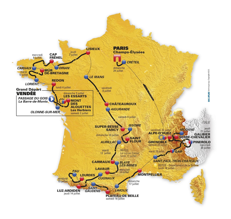 Маршрут велогонки Тур де Франс 2010 года