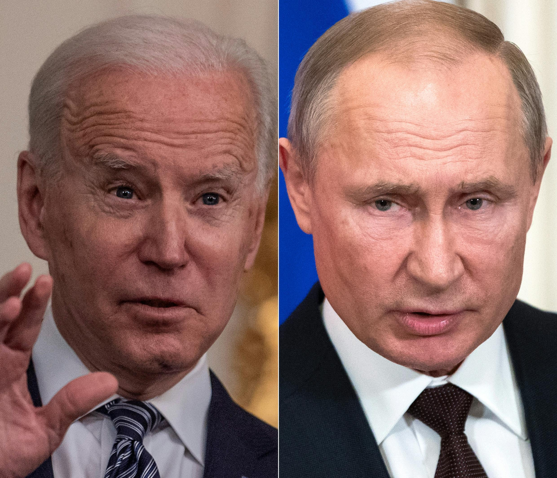 El presidente de Estados Unidos, Joe Biden, (I) impuso sanciones a la Rusia de Vladimir Putin