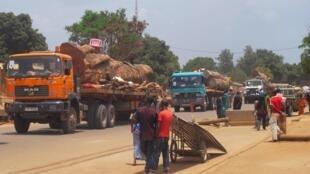 Des camions de marchandises en provenance de la Centrafrique entrent au Cameroun par le poste frontière Garoua-Boulai. (Photo d'illustration).