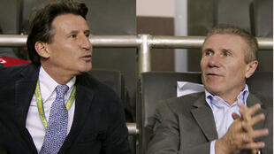 Sebastian Coe (left) beat Sergei  Sergei Bubka (right) in the vote to be president of the IAAF..