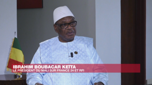 Le président malien Ibrahim Boubacar Keita, lundi 10 février, lors de son interview depuis Addis-Abeba pour RFI et France24.
