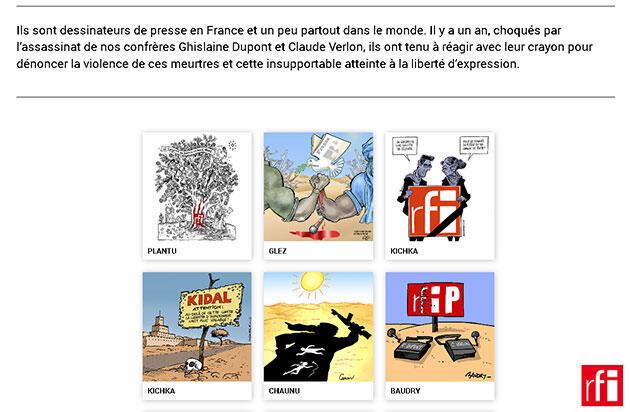 Infographie publiée en 2014 : L'hommage des dessinateurs de presse à Ghislaine Dupont et Claude Verlon