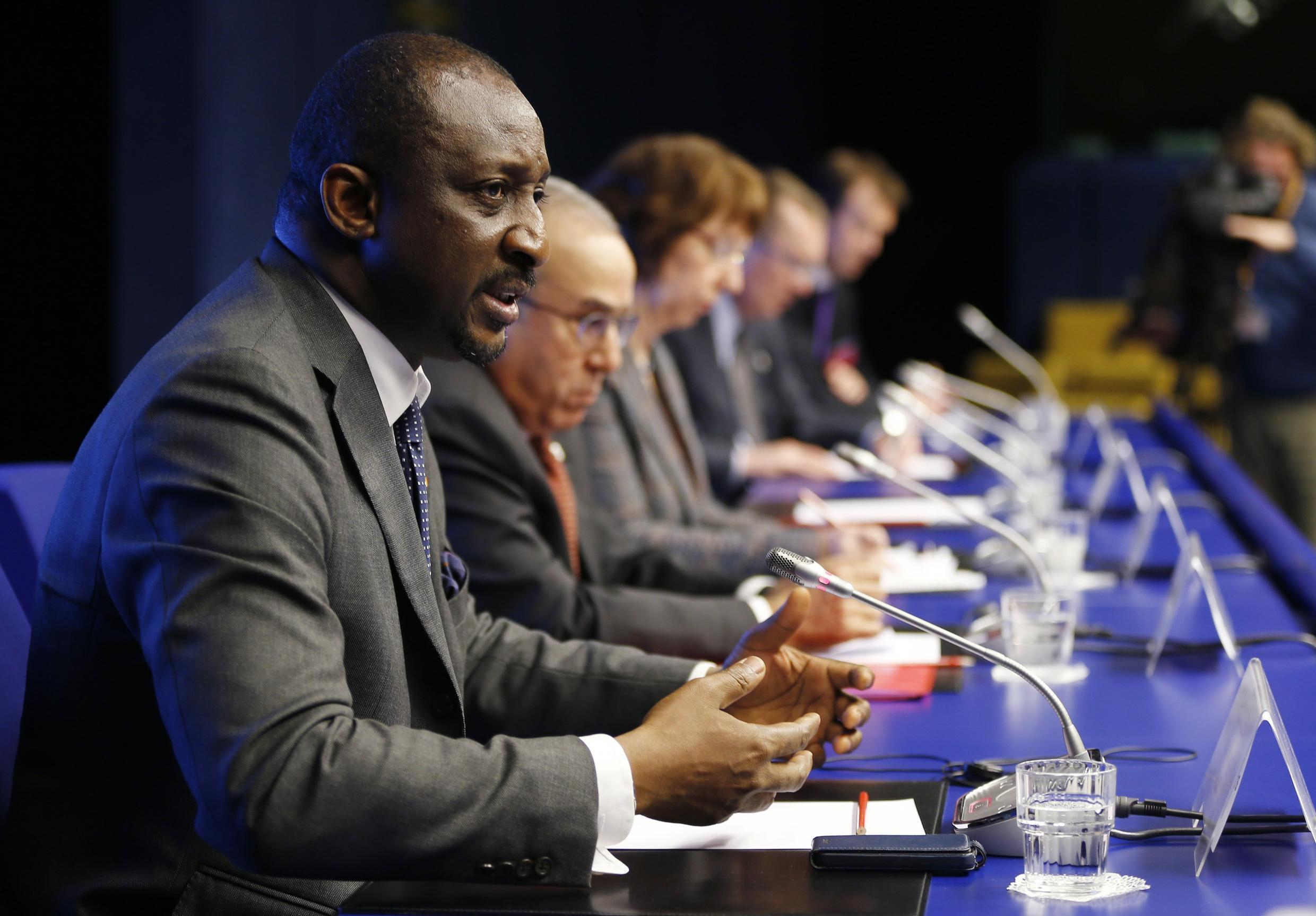 Mali's Foreign Minister Tieman Hubert Coulibaly at the EU Council in Brussels, 5 February, 2013