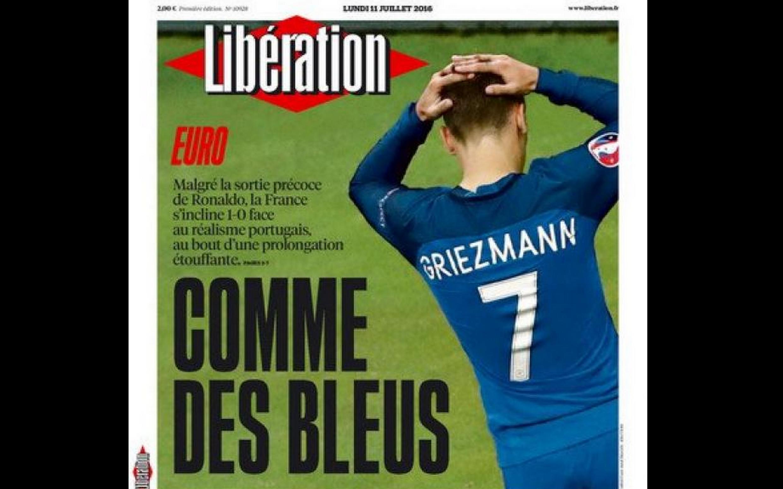 O Libération traz na capa a decepção dos franceses pela derrota na final da Eurocopa