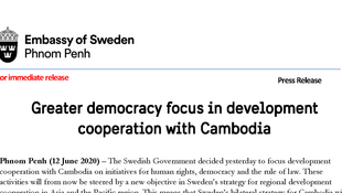 The Swedish government has decided to focus the development cooperation with Cambodia on human rights, democracy and the rule of law.