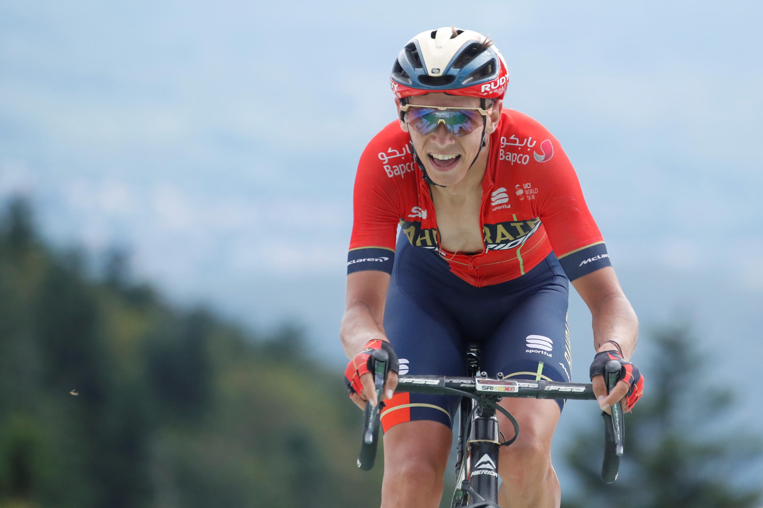 The 160.5-km stage 6 from Mulhouse to La Planche des Belles Filles: Bahrain-Merida rider Dylan Teuns of Belgium finishes to win the stage, 11 July 2019.