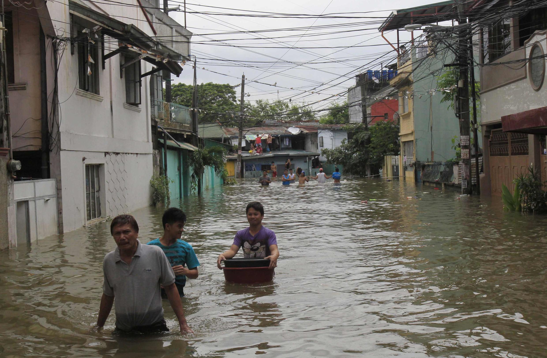 Inundación en Cainta, Filipinas, en septiembre de 2014.