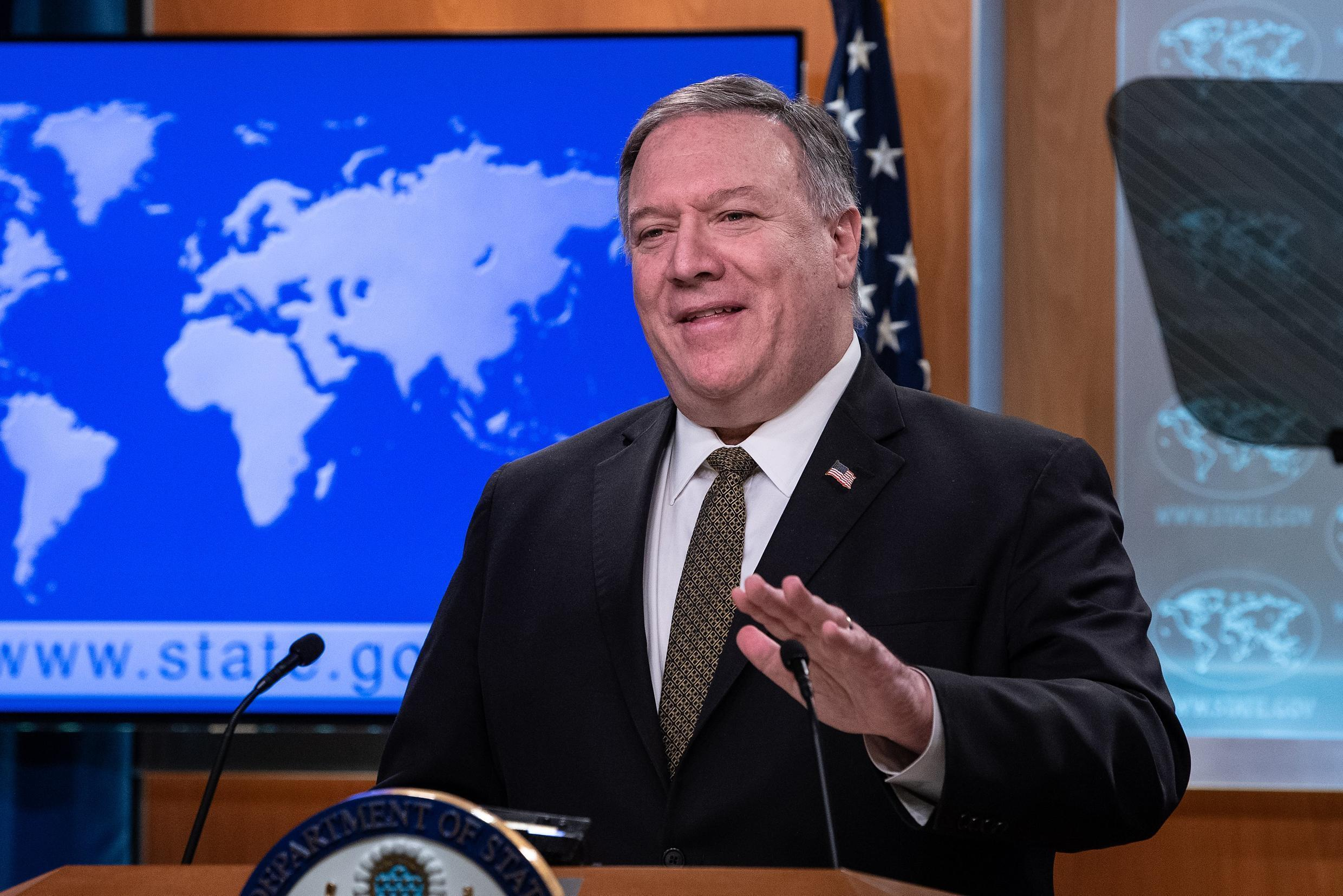 US Secretary of State Mike Pompeo addresses reporters at the State Department