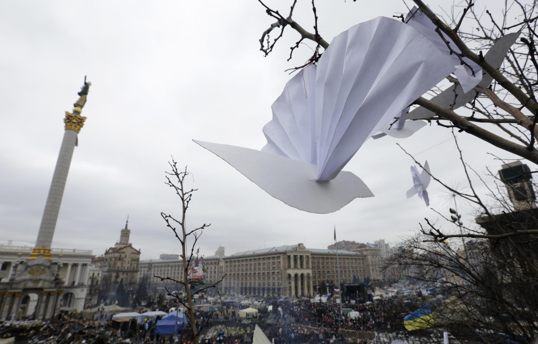 O anúncio do novo governo será feito na Praça da independência, em Kiev, neste 26 de fevereiro de 2014.
