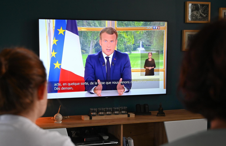 Le président français Emmanuel Macron lors de sa quatrième allocution télévisée, le 14 juin 2020.