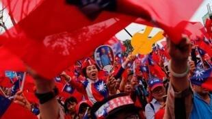 台湾国民党候选人的支持者 2020年1月7日