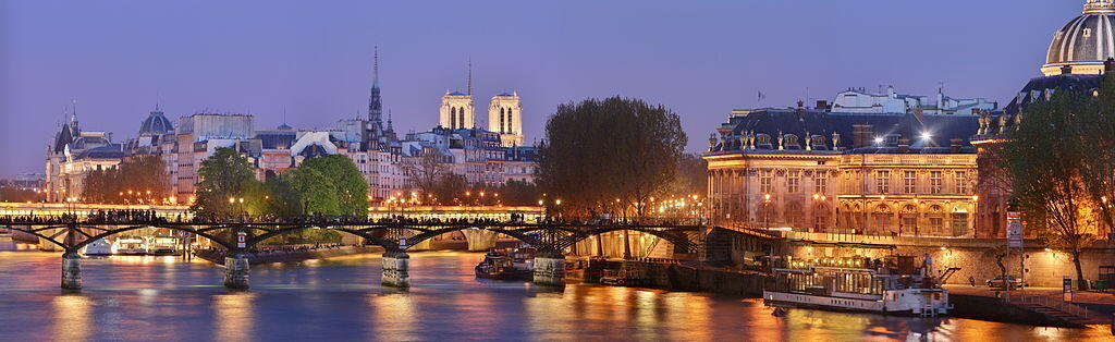 The world-famous Notre Dame Cathedral seen from the Pont des Arts, part of Paris's architectural heritage