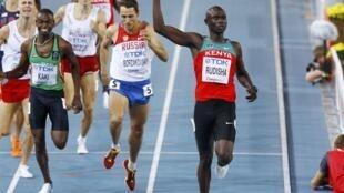 Le Kényan David Rudisha a lâché ses adversaires dans la dernière ligne droite, le 30 août 2011 à Daegu.