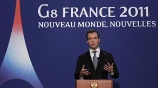 O presidente russo Dmitri Medvedev no encerramento da cúpula do G8 de Deauville, nesta sexta-feira, 27 de maio.