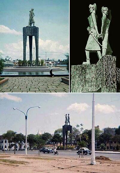 Tượng Hai Bà Trưng ở bến Bạch Đằng, Saigon, bị cho rằng giống khuôn mặt bà Trần Lệ Xuân và con gái là Ngô Đình Lệ Thủy, đã bị đập bỏ khi bà đi lưu vong ở nước ngoài (DR).
