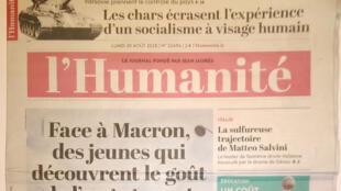 Couverture du journal l'Humanité.