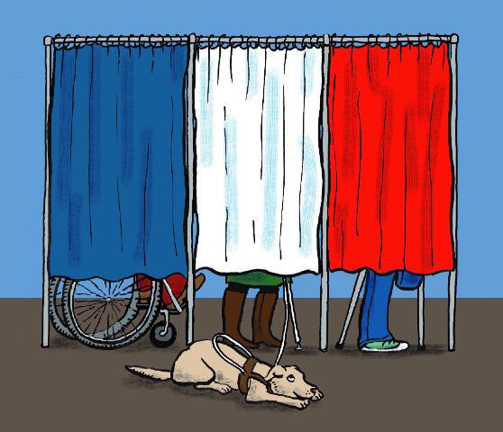"""En 2012, l'association des accidentés de la vie (FNATH) et l'association civisme et démocratie (CIDEM) éditaient une brochure intitulée """"élections sans entraves pour les citoyens handicapés"""""""