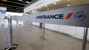 Air France check-in at Bordeaux-Merignac airport as pilots, cabin and ground crews unions call for a strike over salaries, April 7, 2018