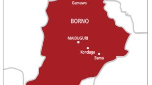 Wani bangare na taswirar Najeriya dake nuna jihar Borno.