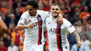 Brothers in arms: Brazil's Marquinhos and Mauro Icardi (R) of Argentina in action for PSG against Galatasaray.