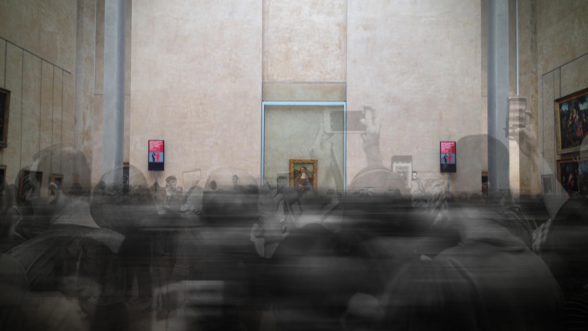 The VR experience, Mona Lisa: Beyond the Glass, contains a nod to the usual experience of viewing Leonardo da Vinci's famous painting in the Louvre's crowded Denon wing.