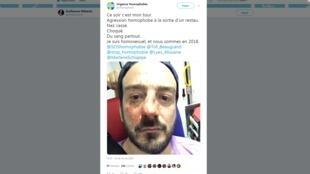 Publicação no Twitter da página Urgência Homofobia