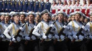 Украинские моряки в Киеве по случаю Дня независимости, 24 августа 2014