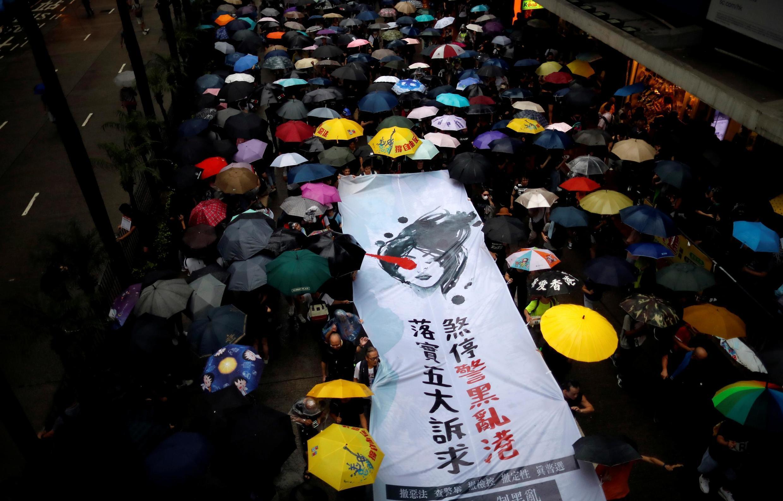 香港民眾8月18日上街抗議集會資料圖片