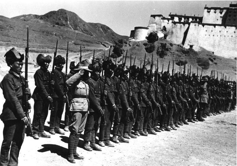 Troops of the Tibetan Army in Xigatze, central Tibet, 1950. Beijing allowed the Tibetans to keep their army until the uprising which ended in a brutal crackdown in 1959, ending all resistance against China's occupation of the territory.