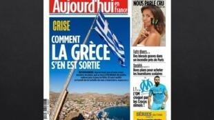 Capa do jornal Aujourd'hui en France desta segunda-feira, 20 de agosto de 2018