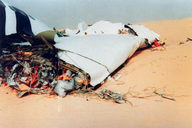 The wreckage of flight UTA 772 in the Tenere desert, 22 September 1989.