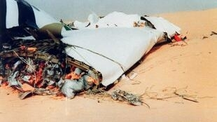 The wreckage of flight UTA 772 in the Tenere desert, 22 September 1989.