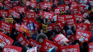 Biểu tình đòi tổng thống Park Geun Hye phải ra đi ngay lập tức, tại Seoul, 24/12/2016