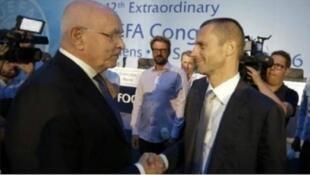Aleksander Ceferin (kulia) wakati wa mkutano mkuu wa UEFA, Jumatano Septemba 14 katika mji wa Athens.