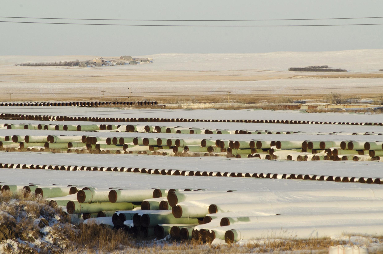 Zone de stockage des tuyaux du projet d'oléoduc Keystone XL à Gascoyne, Dakota du Nord, photographié le 14 novembre 2014 (image d'illustration).