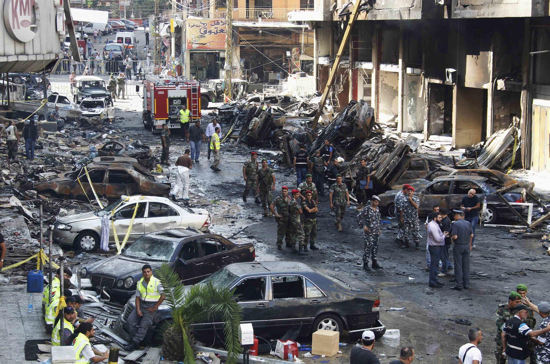 Ngoại ô Beirut, nơi xẩy ra vụ nổ bom, 16/08/2013.