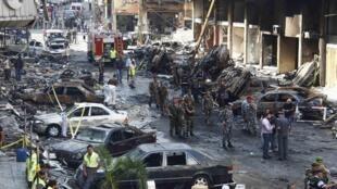 На месте взрыва в южном Бейруте (Ливан) 16/08/2013