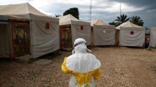 L'unité de soins d'urgence Biosecure (CUBE) du centre de traitement du virus Ebola Alima à Beni, en RDC, le 30 mars 2019.