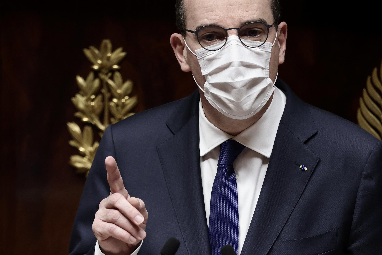 El primer ministro francés, Jean Castex, ante la Asamblea Nacional francesa, el 1 de abril de 2021