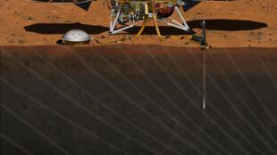 Sismógrafo francês foi instalado em solo marciano graças a um braço robótico da sonda InSight