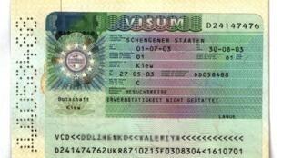 Visa de l'espace Schengen d'une citoyenne ukrainienne délivré par l'ambassade d'Allemagne de Kiev en mai 2003.
