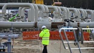 Le chantier de construction du pipeline de gaz Nord Stream 2 in Lubmin dans le nord-est de l'Allemagne en mars 2019 (image d'illustration).