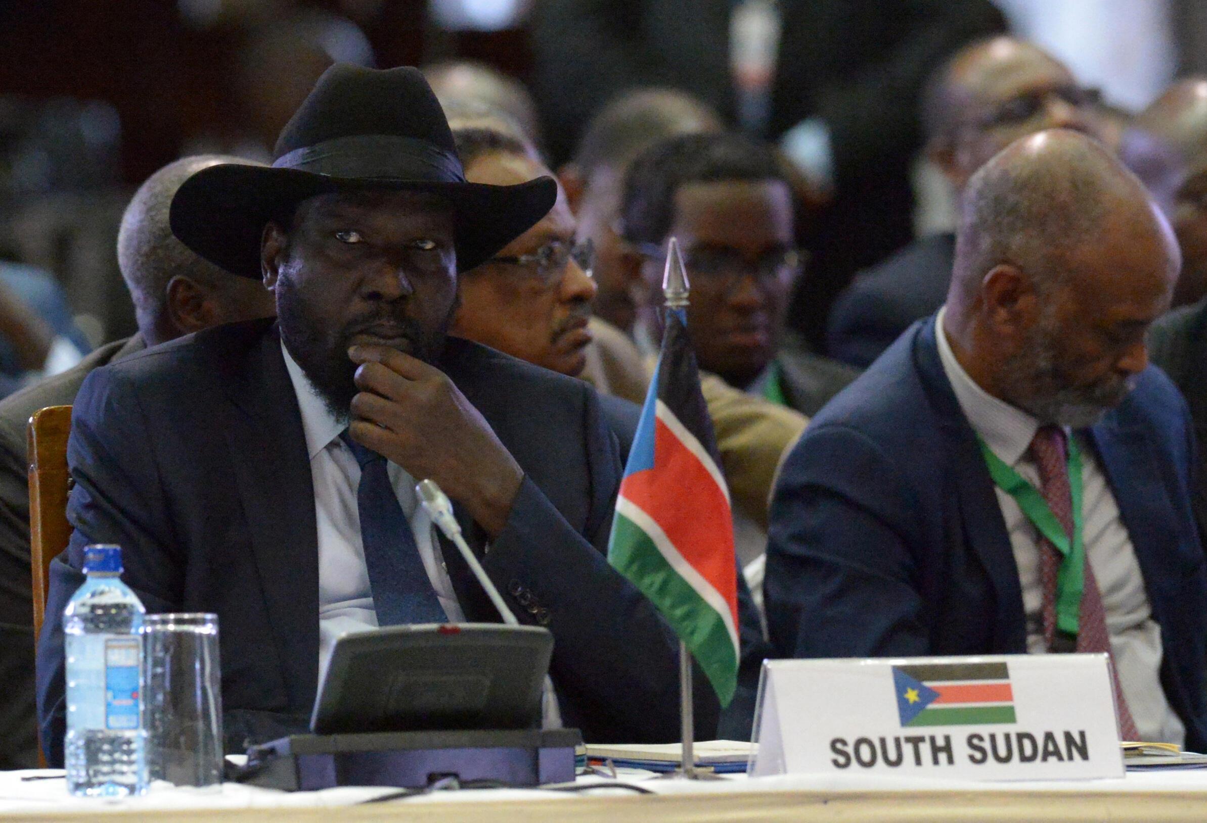 (Photo d'illustration) Le président sud-soudanais Salva Kiir lors du sommet de l'Igad, le 25 mars 2017 à Nairobi.