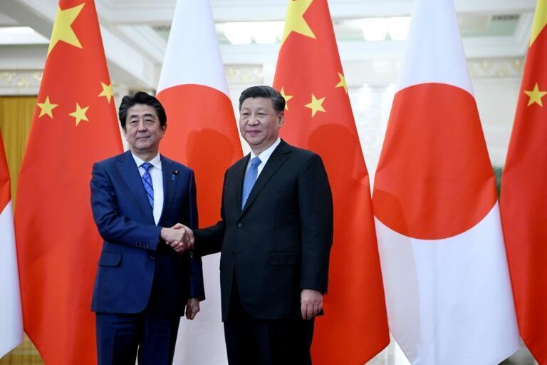 日本首相安倍晉三與中國國家主席習近平資料圖片