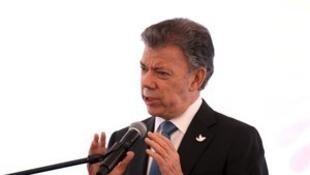 Le président colombien Juan Manuel Santos à Pomasqui, près de Quito, le 27 janvier 2016.